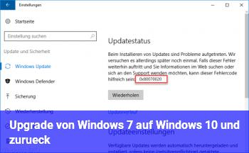 Upgrade von Windows 7 auf Windows 10 und zurück?