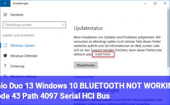 Vaio Duo 13, Windows 10: BLUETOOTH NOT WORKING, Code 43, Path 4097 (Serial HCI Bus)