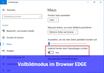 Vollbildmodus im Browser EDGE