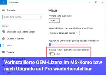 Vorinstallierte OEM-Lizenz im MS-Konto bzw. nach Upgrade auf Pro wiederherstellbar?