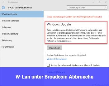 W-Lan unter Broadcom Abbrüche