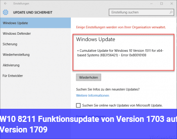W10 – Funktionsupdate von Version 1703 auf Version 1709
