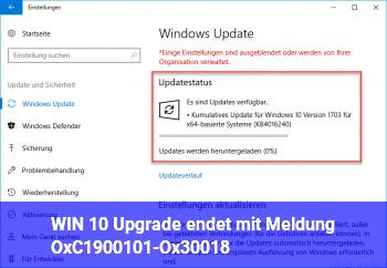 WIN 10 Upgrade endet mit Meldung OxC1900101-Ox30018