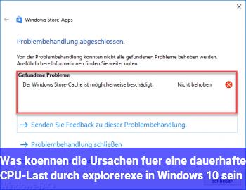 Was können die Ursachen für eine dauerhafte CPU-Last durch explorer.exe in Windows 10 sein?