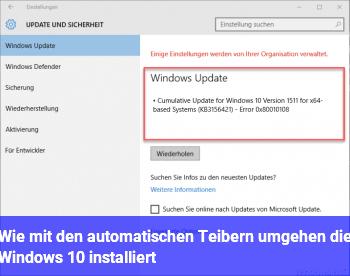 Wie mit den automatischen Teibern umgehen, die Windows 10 installiert?