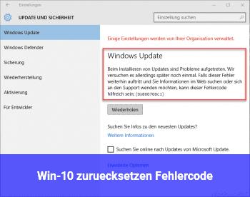 Win-10 zurücksetzen Fehlercode