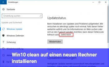 Win10 clean auf einen neuen Rechner installieren