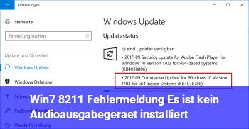 """Win7 – Fehlermeldung """"Es ist kein Audioausgabegerät installiert"""""""