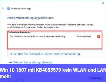 Win 10 1607 mit KB4053579 kein WLAN und LAN mehr
