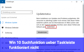 Win 10 Suchfunktion über Taskleiste funktioniert nicht