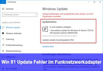 Win 8.1 Update/ Fehler im Funknetzwerkadapter