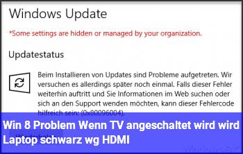 Win 8 Problem: Wenn TV angeschaltet wird, wird Laptop schwarz wg. HDMI