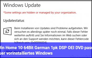"""""""Win Home 10 64Bit German 1pk DSP OEI DVD"""" passt für vorinstalliertes Windows?"""