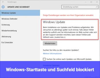 Windows-Starttaste und Suchfeld blockiert