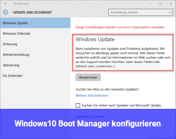 Windows10 Boot Manager: konfigurieren?