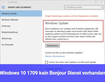 Windows 10 1709 kein Bonjour Dienst vorhanden