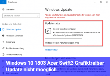 Windows 10 1803 Acer Swift3 Grafiktreiber Update nicht möglich.