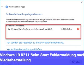 Windows 10 – Beim Start Fehlermeldung nach Wiederherstellung