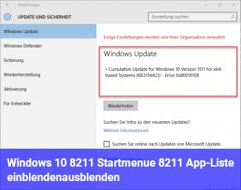 Windows 10 – Startmenü – App-Liste einblenden/ausblenden