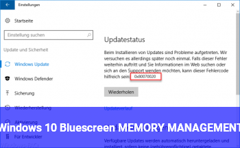 Windows 10 Bluescreen MEMORY_MANAGEMENT
