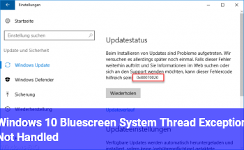 Windows 10 Bluescreen / System Thread Exception Not Handled