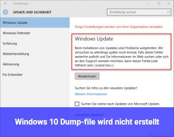 Windows 10 Dump-file wird nicht erstellt