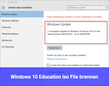 Windows 10 Education iso File brennen