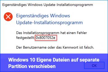 Windows 10: Eigene Dateien auf separate Partition verschieben