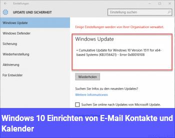 Windows 10 Einrichten von E-Mail / Kontakte und Kalender