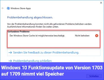 Windows 10 Funktionsupdate von Version 1703 auf 1709 nimmt viel Speicher