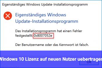 Windows 10 Lizenz auf neuen Nutzer übertragen.