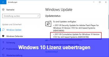 Windows 10 Lizenz übertragen