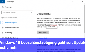Windows 10 Löschbestätigung geht seit Update nicht mehr