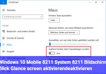 """Windows 10 Mobile – System – Bildschirm """"Blick"""" (Glance screen) aktivieren/deaktivieren"""