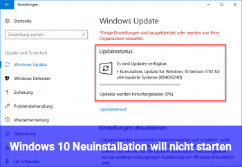 Windows 10 Neuinstallation will nicht starten