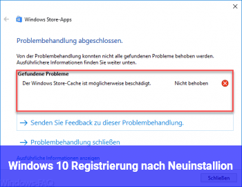 Windows 10 Registrierung nach Neuinstallion