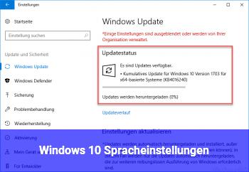 Windows 10 Spracheinstellungen