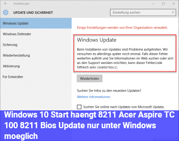 Windows 10 Start hängt – Acer Aspire TC 100 – Bios Update nur unter Windows möglich
