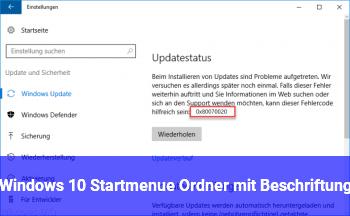 Windows 10 Startmenü Ordner mit Beschriftung