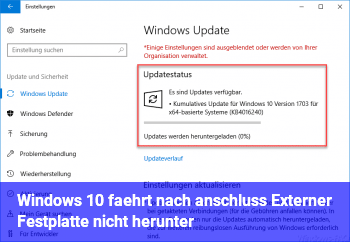 Windows 10 fährt nach anschluss Externer Festplatte nicht herunter