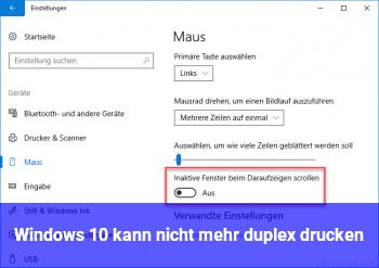 Windows 10 kann nicht mehr duplex drucken
