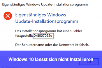 Windows 10 lässt sich nicht Installieren..