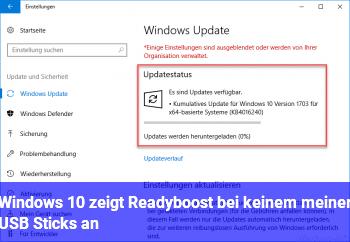 Windows 10 zeigt Readyboost bei keinem meiner USB Sticks an.