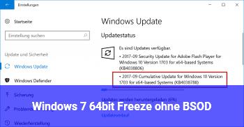 Windows 7 64bit Freeze ohne BSOD