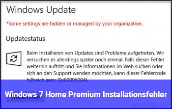 Windows 7 Home Premium Installationsfehler