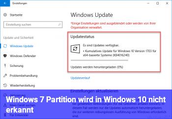 Windows 7 Partition wird in Windows 10 nicht erkannt