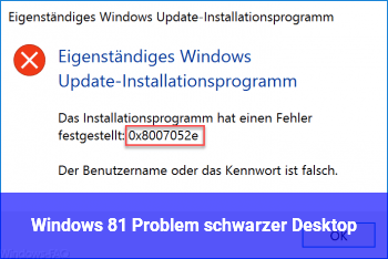 Windows 8.1 Problem schwarzer Desktop