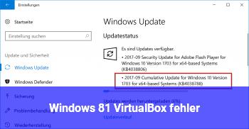 Windows 8.1 VirtualBox fehler