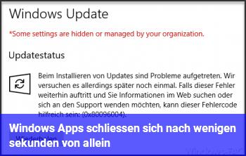Windows Apps schließen sich nach wenigen sekunden von allein!
