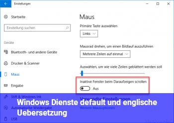 Windows Dienste: default und englische Übersetzung